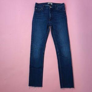 Acne High Rise Cropped Frayed Hem Jeans Size 29/32